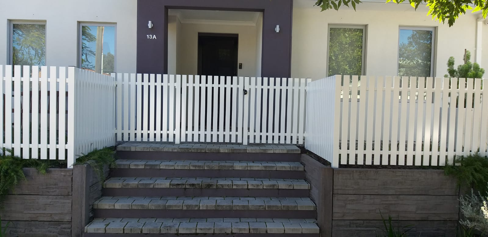 Picket Fence and Gate - white - front